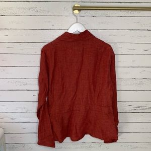 Flax Tops - Flax Red Linen Button Down Pocket Flared Hip Top